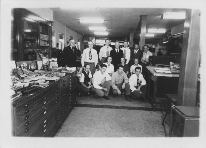 140 years of reinvention miller imaging digital solutions the miller blueprint staff in 1950 malvernweather Choice Image